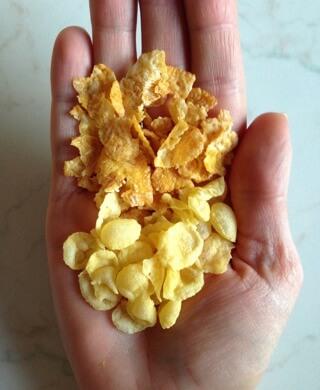 Usporedba integralni i obični cornflakes.