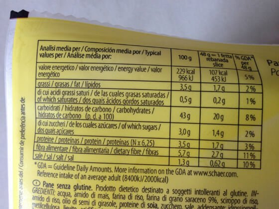 Schar Panne Casereccio bezglutenski kruh, kalorije