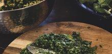 Sjeckano zeleno lisnato povrće